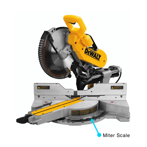image showing the miter scale on the DEWALT DWS779 miter saw