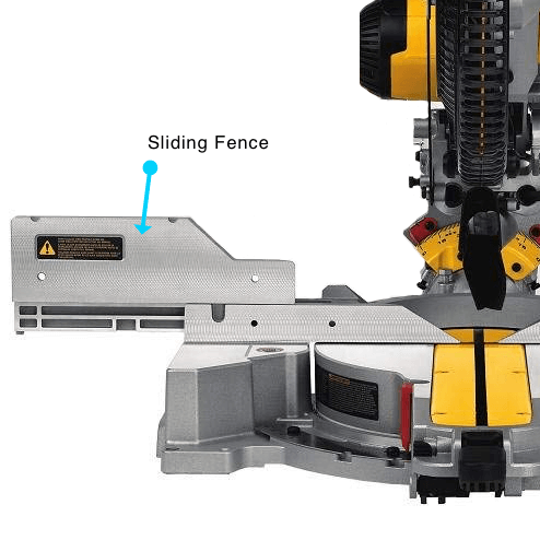 image showing the fence of the DEWALT DWS779 miter saw