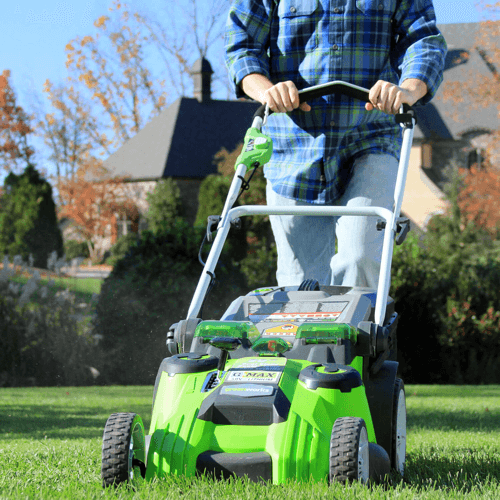 an image showing the Greenworks 25302 lawn mower in use