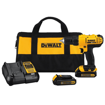 image showing the dewalt dcd777c2 drill driver and the accessories it comes with