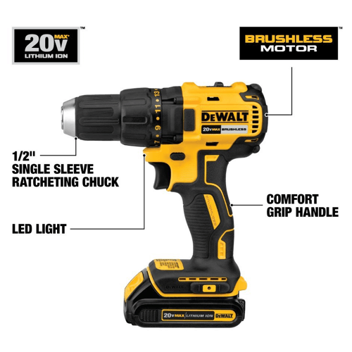 image of the dewalt dcd777c2 20v max lithium-ion brushless compact drill driver features