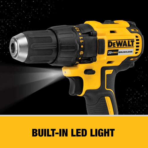 image showing the LED light on the dewalt dcd777c2 drill driver