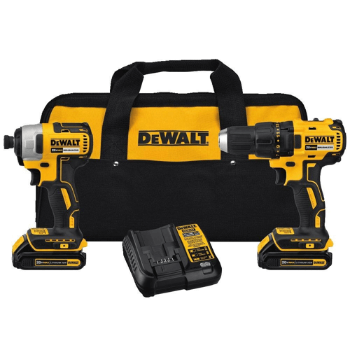 an image showing the dewalt dck277c2 max compact brushless drill and impact driver combo set