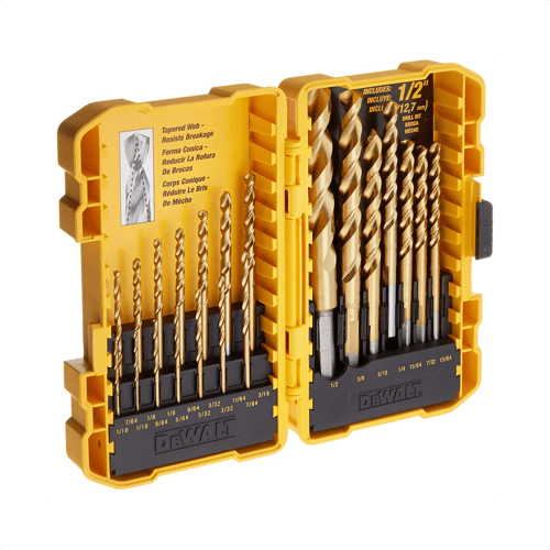 image of the dewalt dw1342 21 piece titanium speed tip drill bit set
