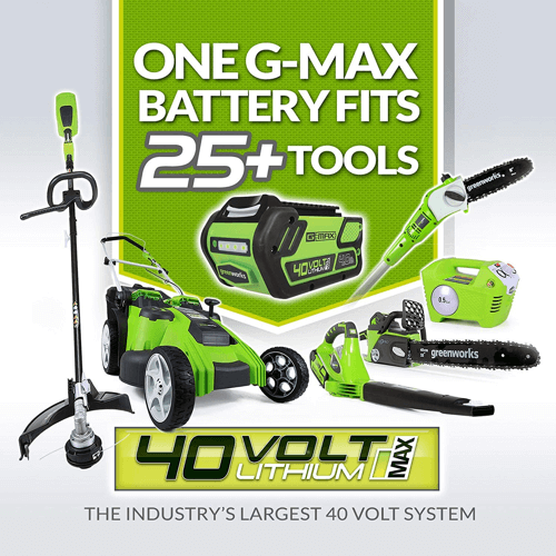 image showing a selection of Greenworks g-max 40v tools that the Greenworks 25302 electric lawn mower battery works with