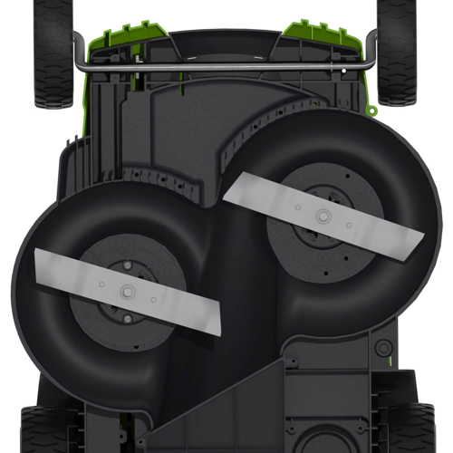 image showing the dual blade design of the greenworks 25302 g-max 40v twin force 20-inch cordless lawn mower