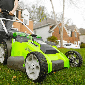 image showing the Greenworks 25302 lawn mower in use