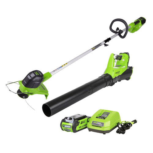 an image showing the Greenworks 40V Cordless String Trimmer & Blower Combo Pack STBA40B210