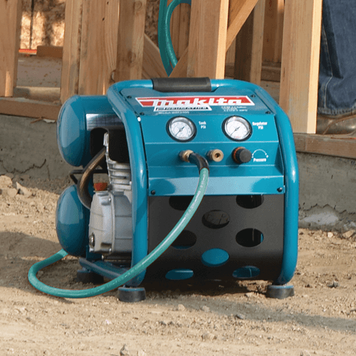 image showing the makita mac2400 big bore air compressors steel roll cage frame