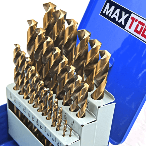 an image showing the MaxTool 29 piece twist jobber length drill bit set JBS35G10R029
