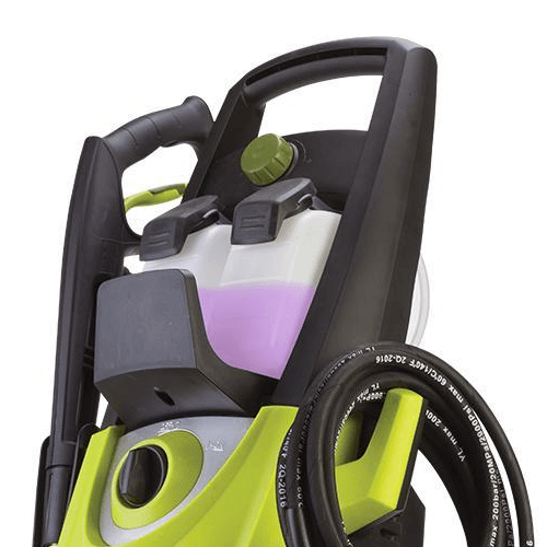 image showing the sun Joe spx3000 pressure washer detergent tanks and detergent selection dial