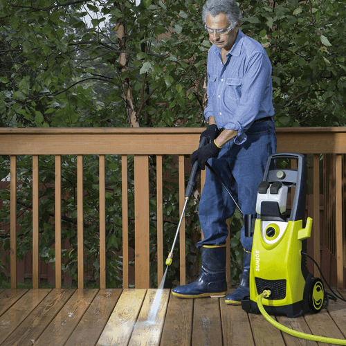 image of the sun joe spx3000 pressure washer in use