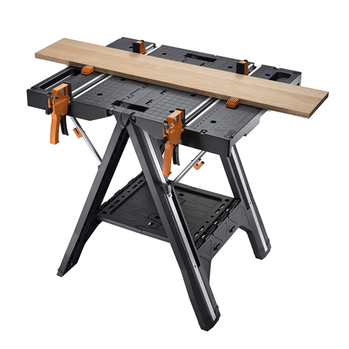 image showing the worx pegasus multi function work table clamps and dogs in use
