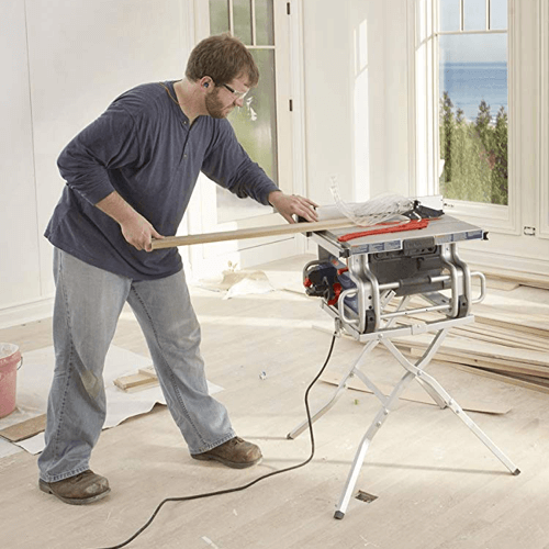 image of the bosch table saw model number bosch gts1031 being used with the GTA500 stand