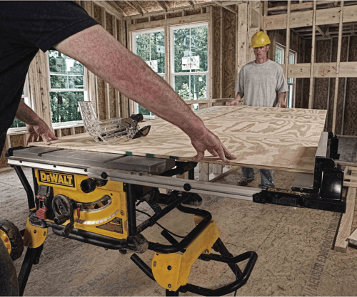 an image showing the Dewalt table saw dwe7491rs in use