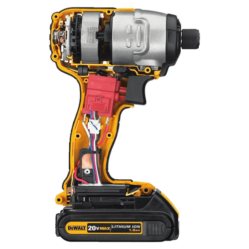 an image showing the dewalt dcf885 impact driver internals
