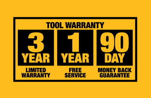 an image highlighting the dewalt warranty that comes with the dw735 wood planer