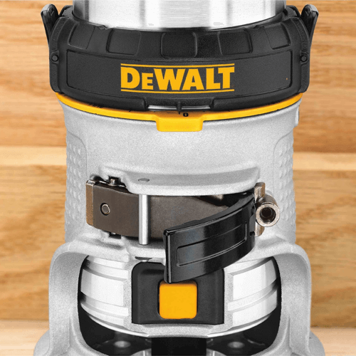 an image showing the locking lever height adjustment mechanism of the dewalt dwp611 compact router