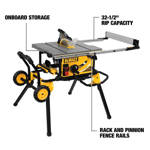 an image showing the features of the Dewalt table saw dwe7491rs
