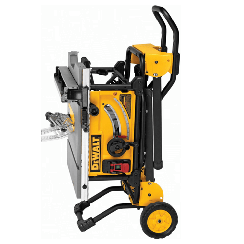 an image showing the Dewalt table saw dwe7491rs folded stand