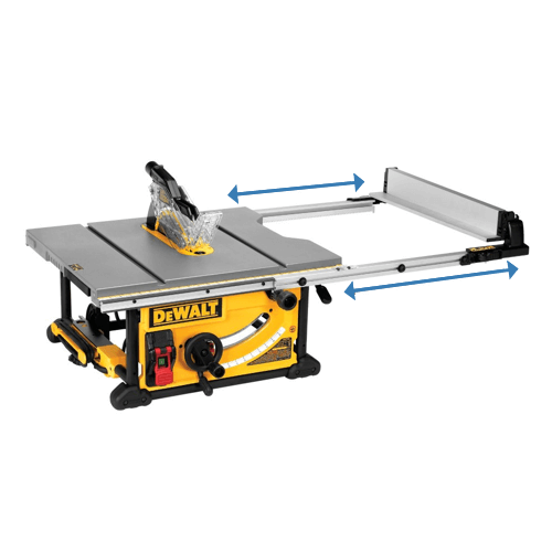 an image showing the Dewalt table saw dwe7491rs telescoping fencing rails