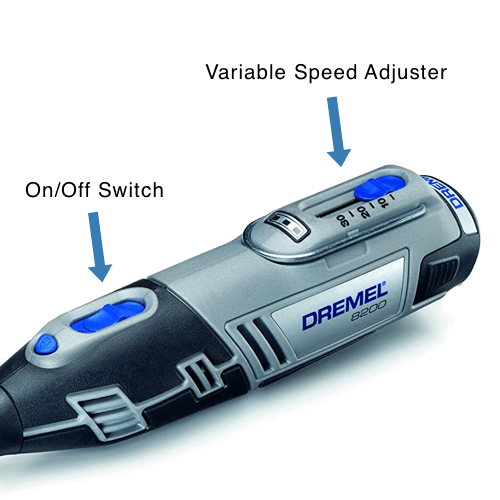 an image showing the cordless dremel 8220 rotary tool speed control dial
