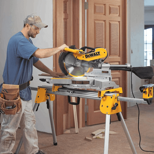 an image showing the dewalt dws780 miter saw in use