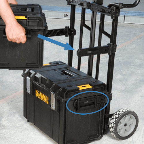 image showing how to connect accessories to the dewalt tough system ds carrier