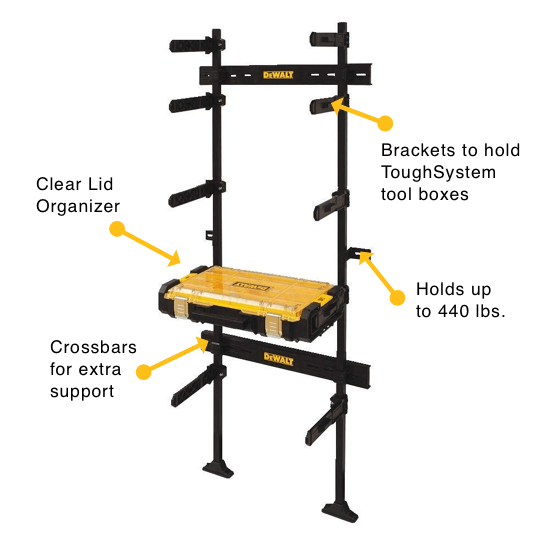 an image showing the DEWALT ToughSystem Workshop Racking Solution with Organizer - DWST08270