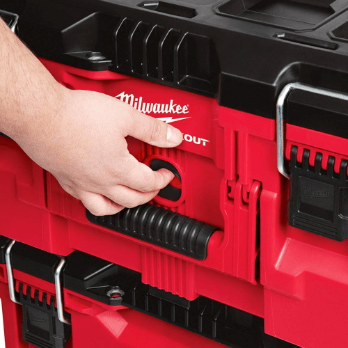an image showing how to remove a tool box from a Milwaukee packout kit