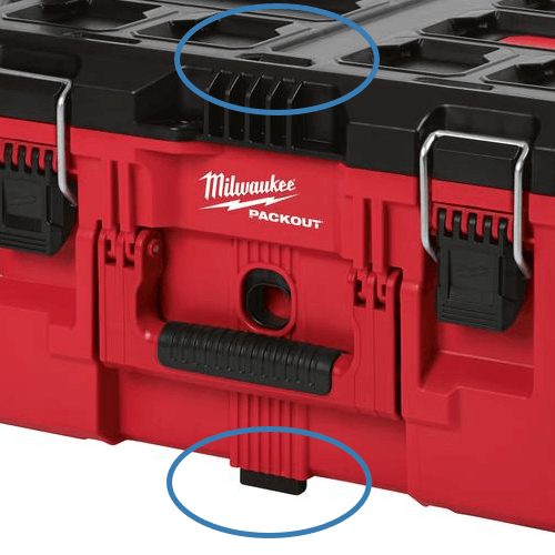 an image showing the connecting points on the Milwaukee packout system