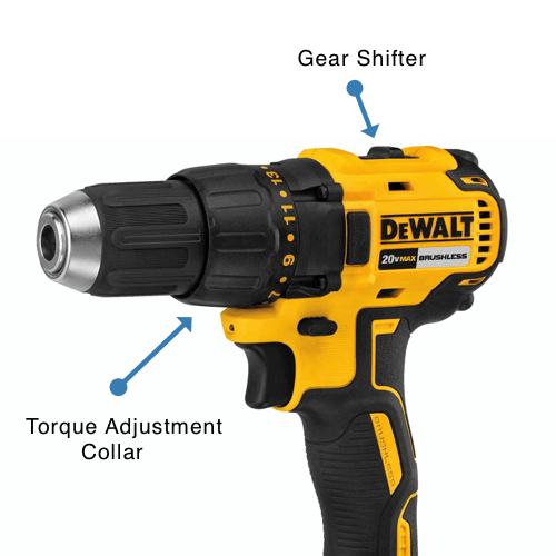 an image showing the gear shifter and torque adjustment collar on a drill driver