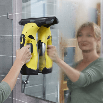 image showing the karcher window vac being used to remove condensation