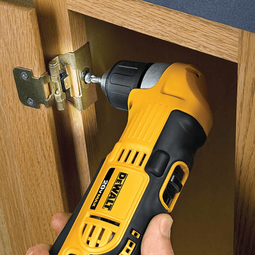 image showing a dewalt right angle drill driver in use