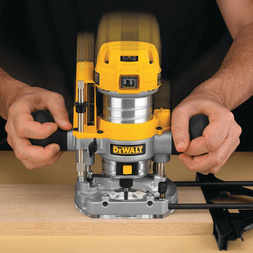 image showing a dewalt plunge router in use