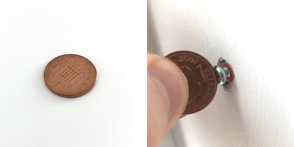 If you're struggling with how to unscrew a screw without a screwdriver, the coin shown in this image can be a good option for larger, looser screws