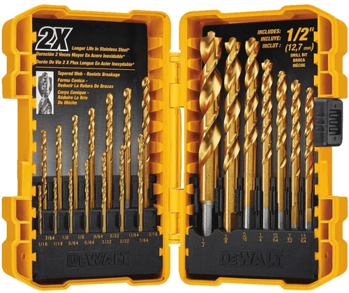 image of the DEWALT DW1361 21-piece titanium drill bit set, one of our recommended drill press accessories