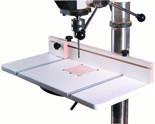 image of an extended table which makes an ideal drill press accessory