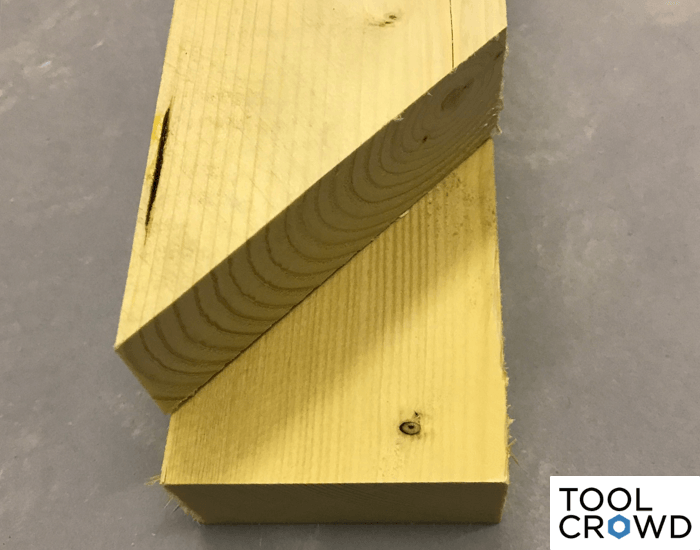 an image showing both a 90 and 45 degree angle cut on a miter saw to equal a 135 degree angle overall