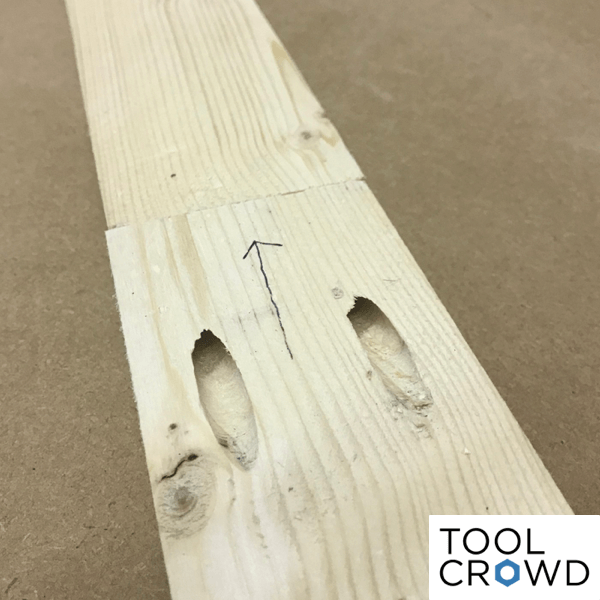 image showing pocket holes used to join two pieces of wood with screws