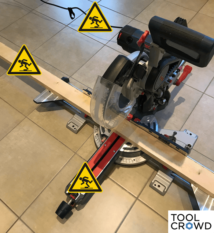 an image showing the potential trip hazards that come from using a miter saw on the floor