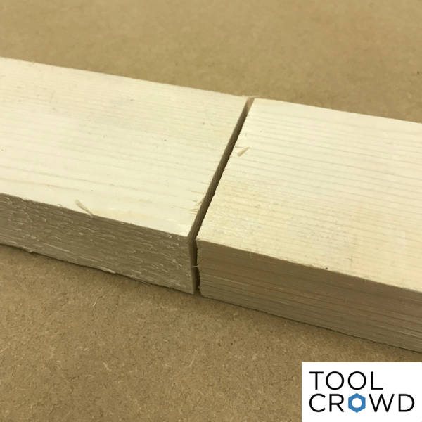an image showing two pieces of wood butted together end to end