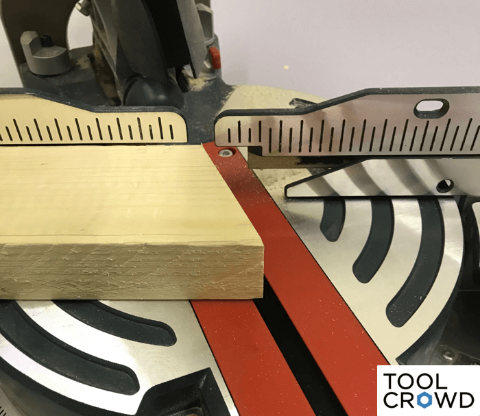 an image showing a miter saw following a cut at 22.5 degrees