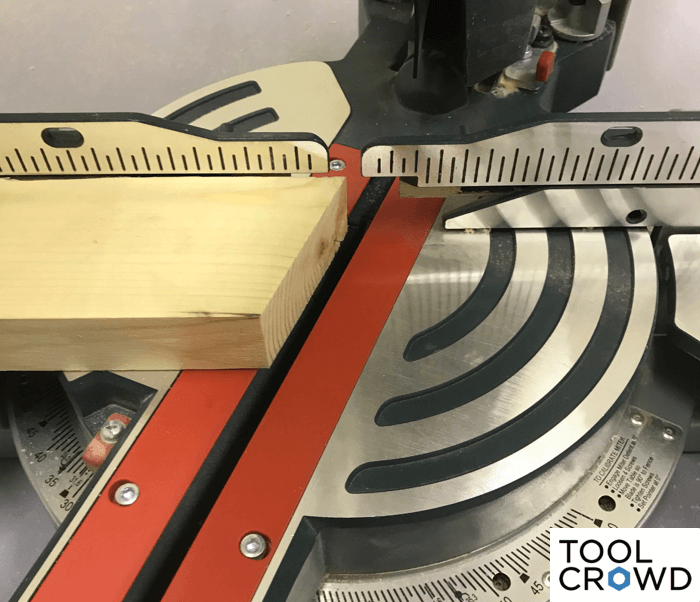 an image showing a miter saw following a second cut at 22.5 degrees
