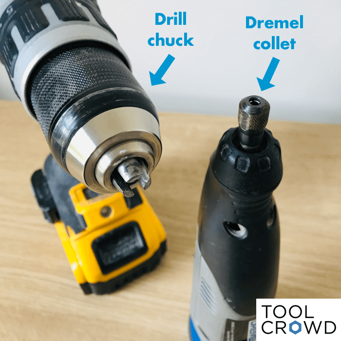 an image showing a comparison between a drill chuck and a dremel collet for holding bits