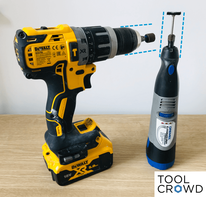 an image showing how the larger size of a drill chuck can prove restrictive when using dremel bits