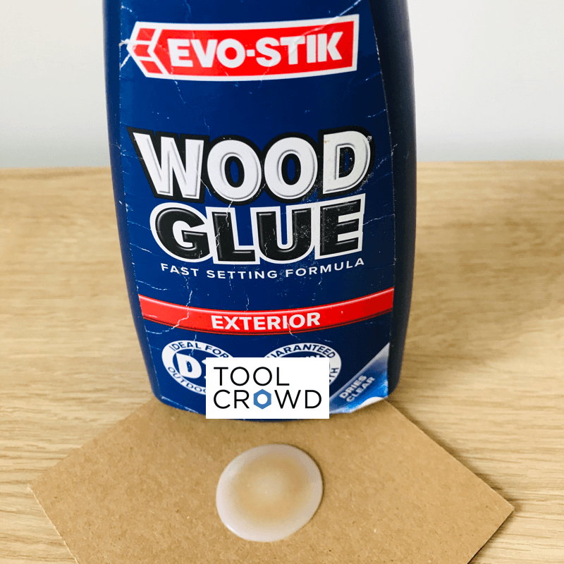 an image of evo stik exterior wood glue that we tested to see if it dries clear