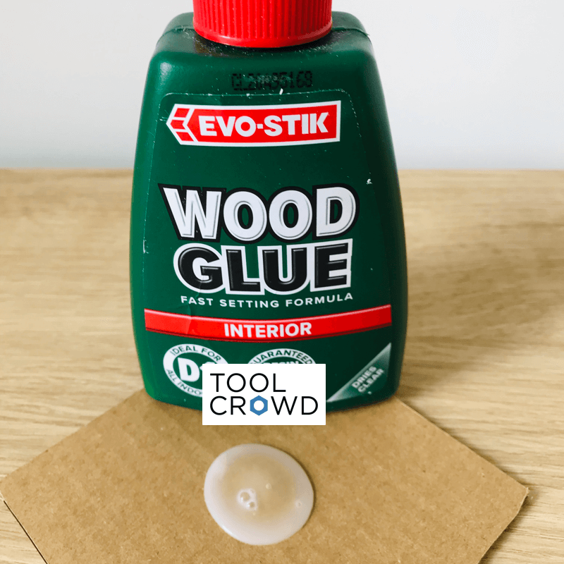 an image of evo stik interior wood glue that we tested to see if it dries clear