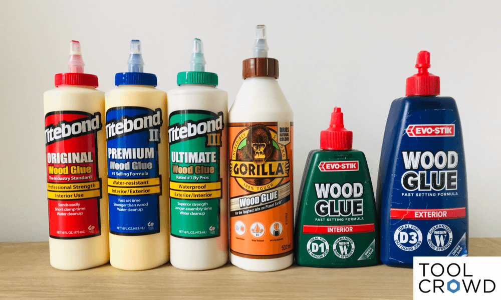 an image showing the various wood glues tested by ToolCrowd to see if they dry clear