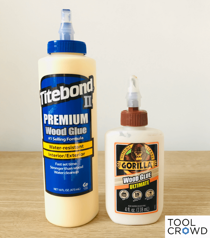 an image showing titebond 2 and gorilla wood glue ultimate side by side